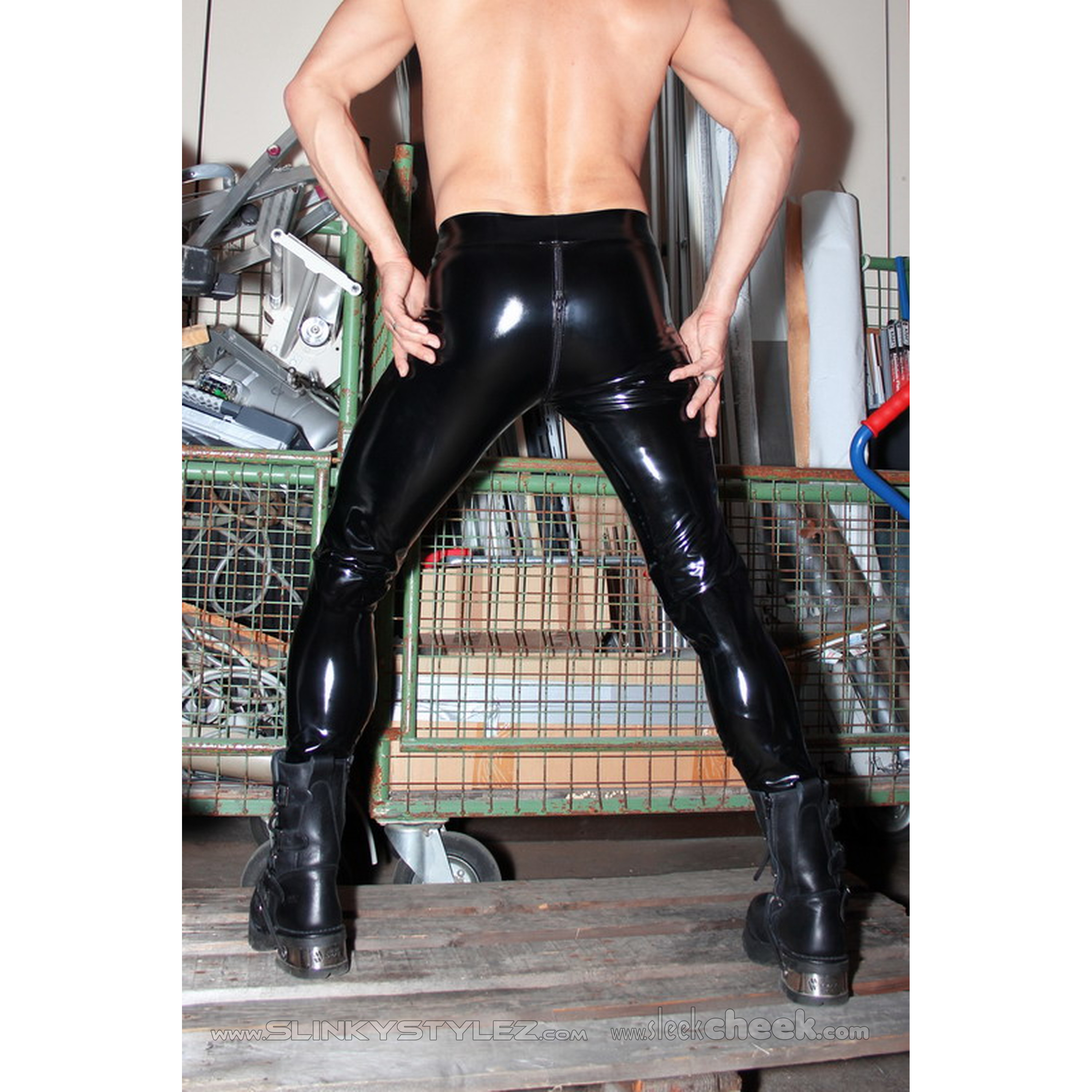 SLINKYSTYLEZ Anatomic OUVERT-ZIP Leggings HL3AP_ZV6 - COATED FABRICS - KUNDENWAHL (L32H)